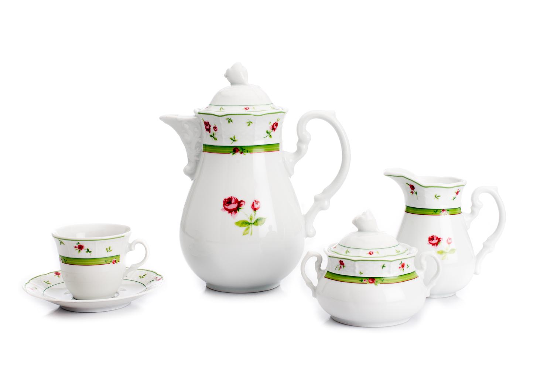 Kávová souprava, karlovarský porcelán, Thun Menuet, růže, zelená, 15 dílná