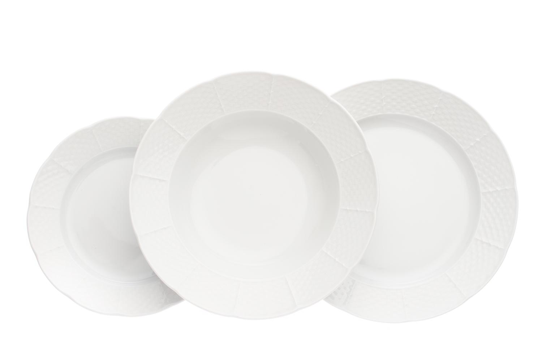 Sada talířů, bílá, Thun Natálie, český porcelán, 18 dílná