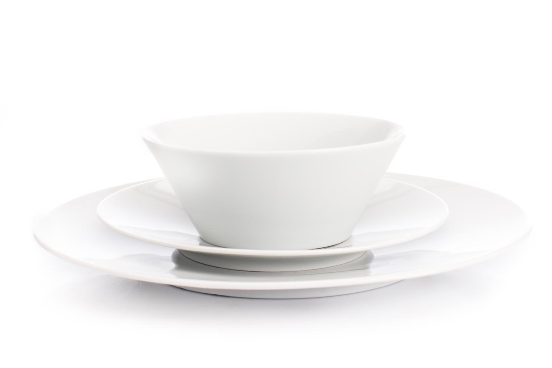 Sada talířů, Bohemia White, bílá, Český porcelán Dubí, 18 dílná