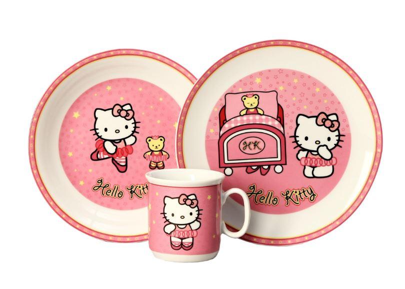 Dětská porcelánová souprava Hello Kitty, růžová, Thun, 3 dílná