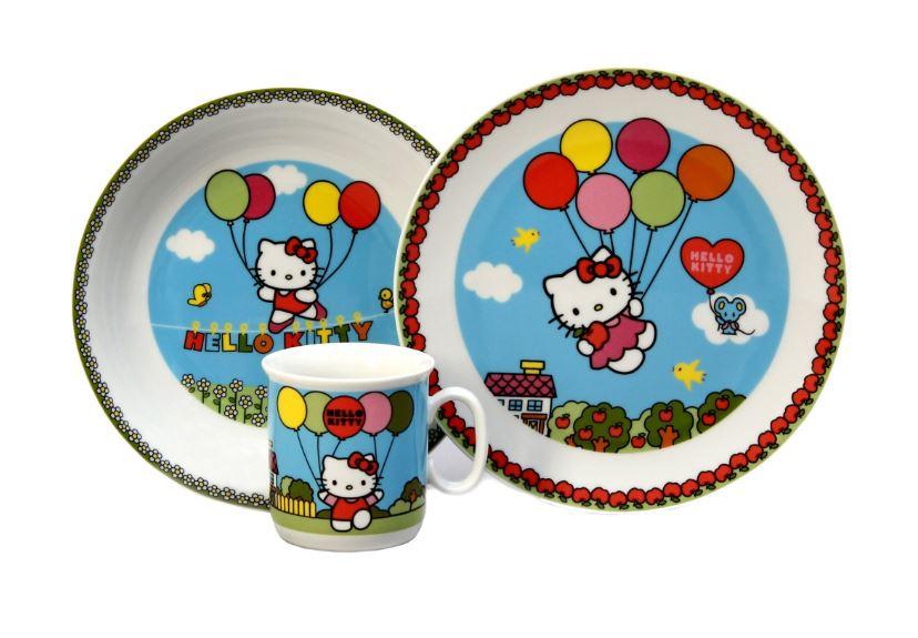 Dětská jídelní souprava Hello Kitty, modrá, Thun, 591018, 3 dílná