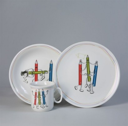 Dětská jídelní porcelánová souprava, Thun, Pastelky, 3 dílná
