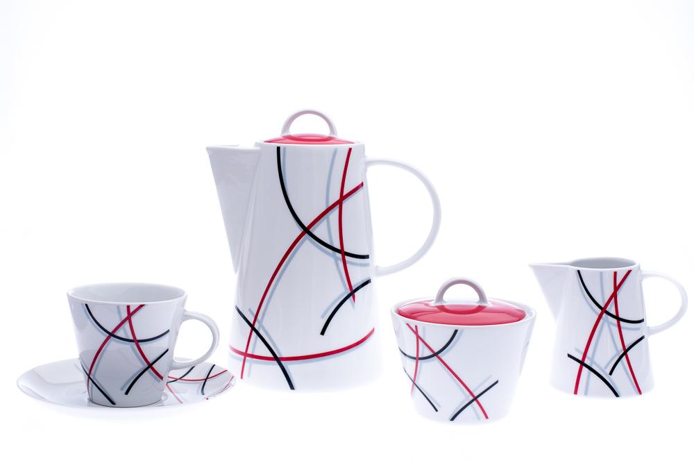 Kávová souprava, karlovarský porcelán Thun, Tom, čáry, 15 dílná