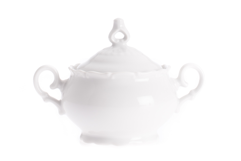 Cukřenka litá 0,24 l, bílý porcelán, Ofélie, Stará Role