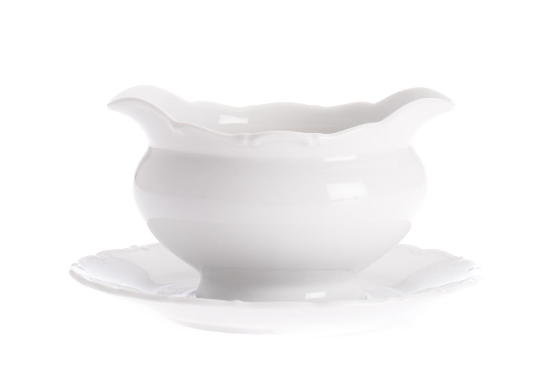 Omáčník litý 0,40 l, bílý porcelán, Ofélie, Stará Role