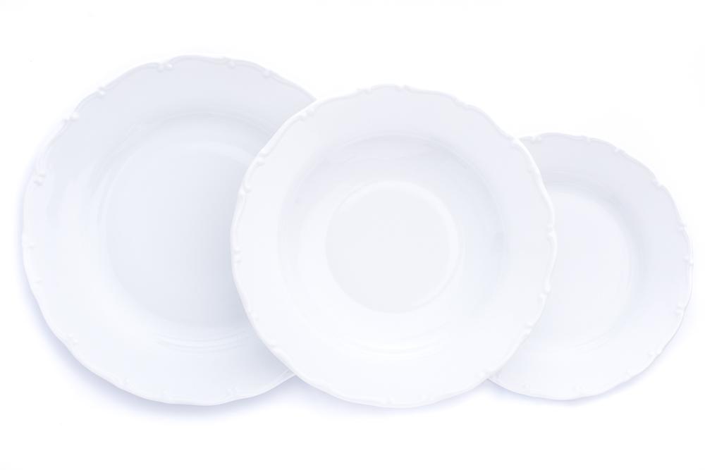 Bílé porcelánové talíře, český porcelán, Stará Role, Ofélie, 18 dílná