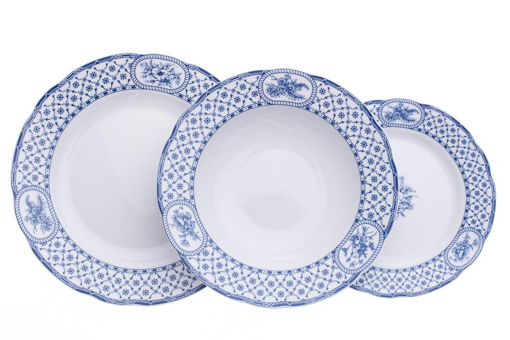 Sada talířů, karlovarský porcelán, Thun, Rose, modrá stuha, 18 dílná