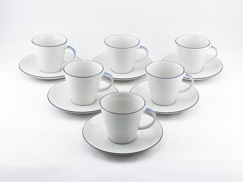 Šálky na kávu, karlovarský porcelán, Tom modrý proužek, 6 ks