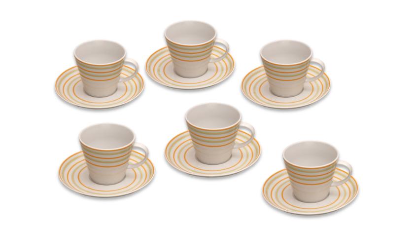 Šálky na kávu, karlovarský porcelán, Tom, linky pásky, 6 ks