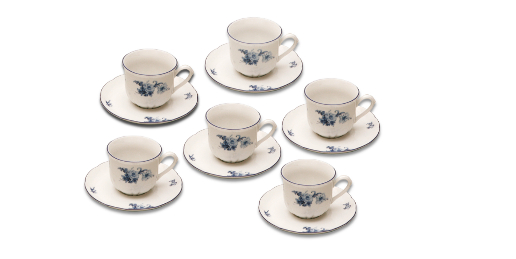 Šálky na kávu, karlovarský porcelán, Rose, modré růže, 6 ks
