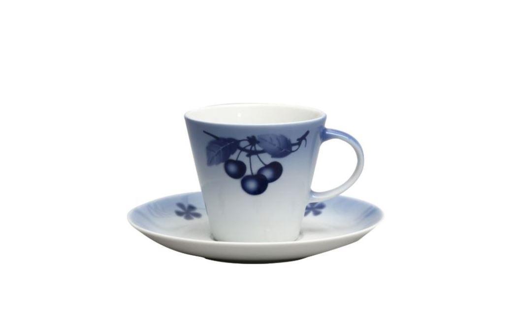 Modré třešně, kávové šálky, karlovarský porcelán Thun, 6 ks