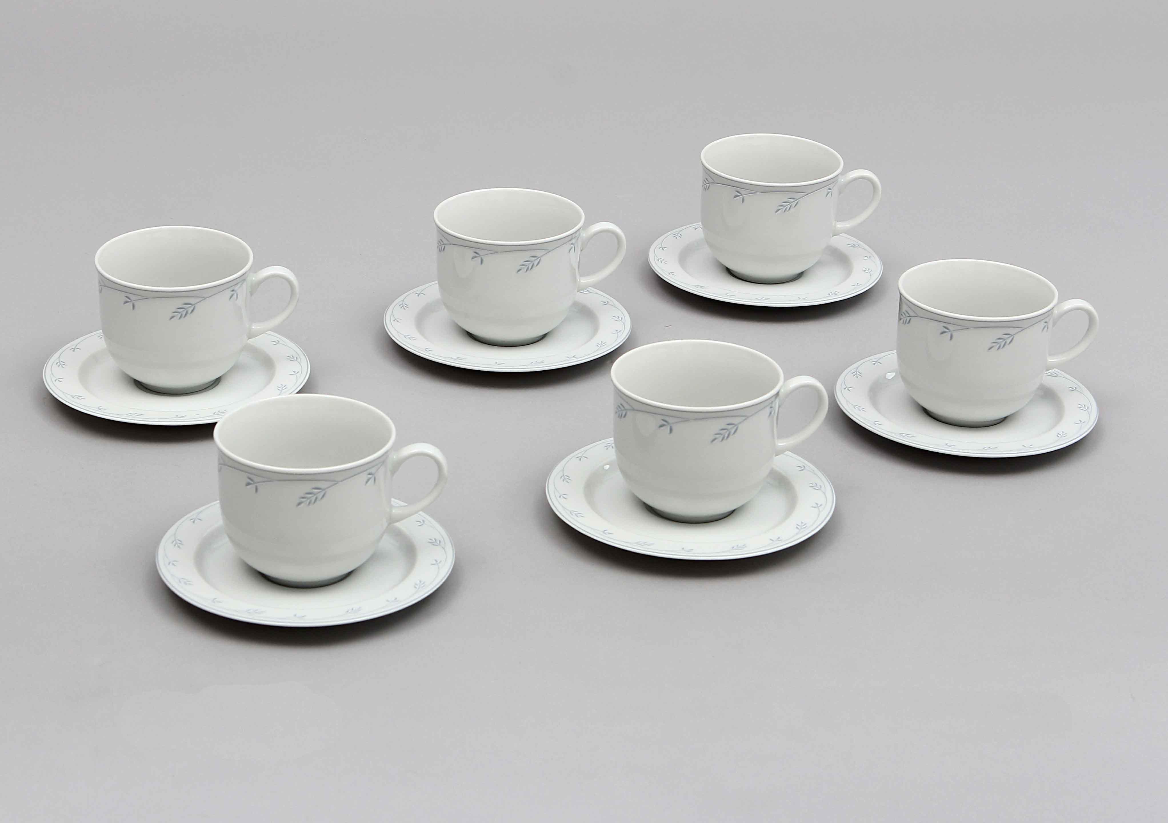 Šálky na kávu, karlovarský porcelán Thun, Opal klásky, 6 ks