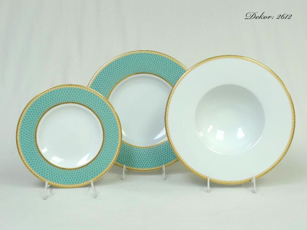 Luxusní porcelánové talíře, karlovarský porcelán, 2612, Rudolf Kämpf, 18 ks