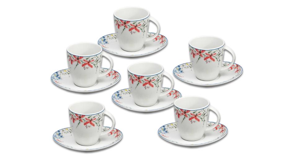 Loos, šálky na čaj s podšálky, český porcelán, barevné kvítky, Thun, 12 d.