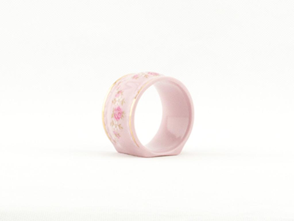 Kroužek na ubrousky, Sonáta, růžový porcelán, kytičky, Leander