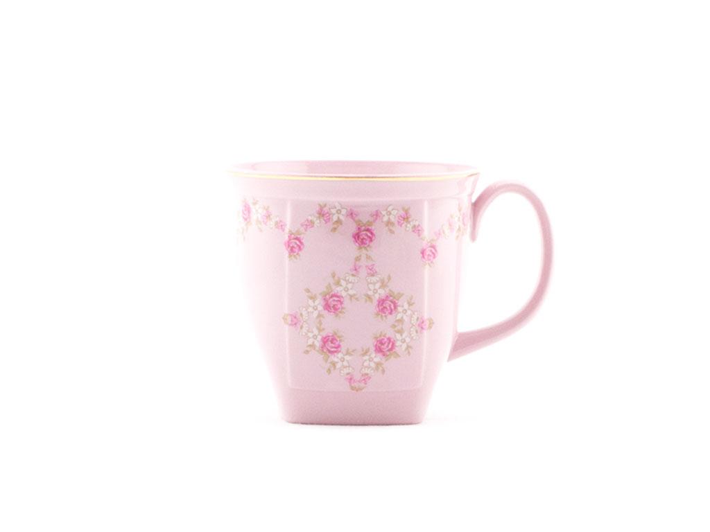 Hrnek hranatý 0,33, růžový porcelán, kytičky, zlatá linka, Leander