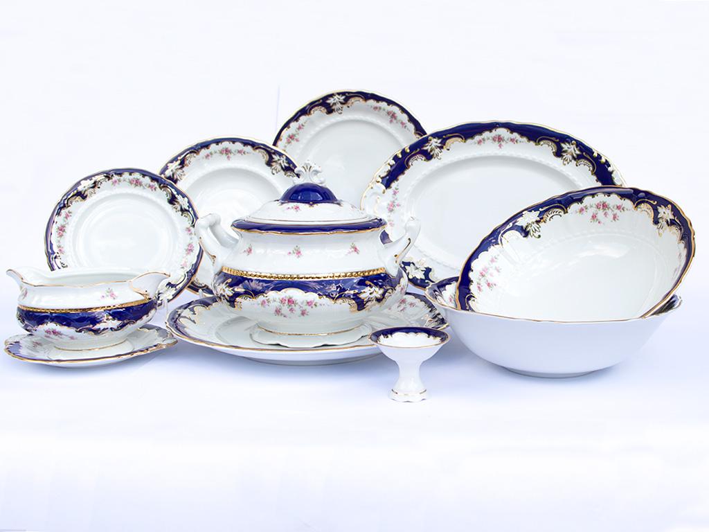 Jídelní souprava, český porcelán, květiny, kobalt + zlato, Leander, 25 d.