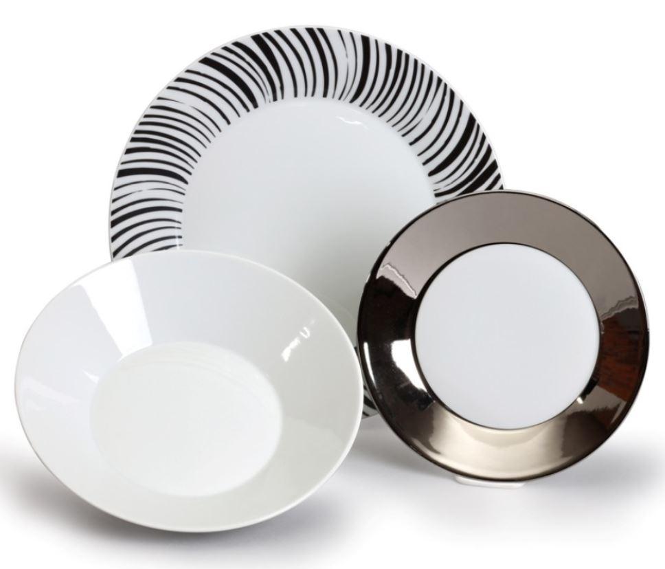 Tom, talířová souprava, český porcelán Thun, černobílá, 18 d.