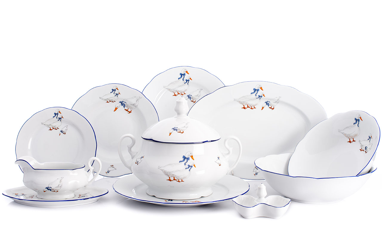 Jídelní souprava, karlovarský porcelán Leander Loučky, Mary-Anne, husy, 25 dílná