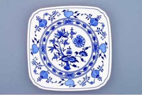 Talíř hranatý 21 cm, cibulák, Český porcelán