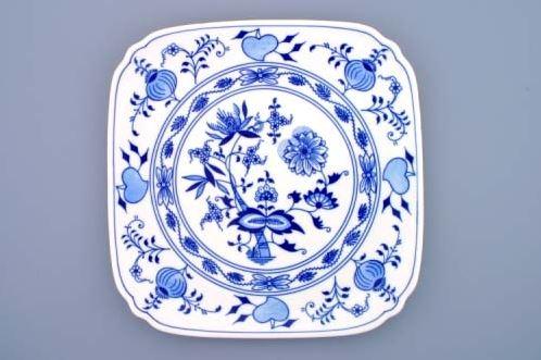 Talíř hranatý 29 cm, cibulák, Český porcelán