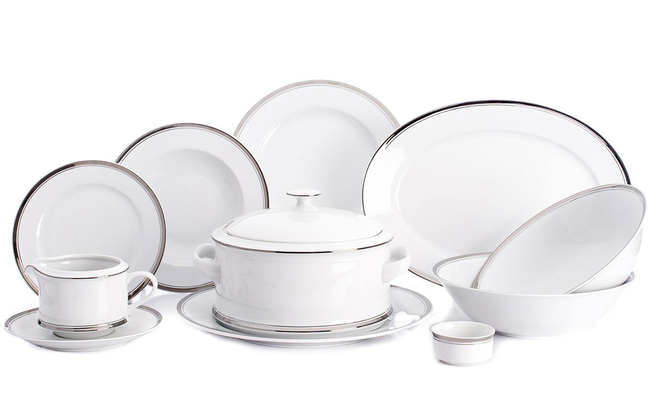Jídelní souprava, karlovarský porcelán Leander Loučky, Sabina - platinový proužek, 25 dílná
