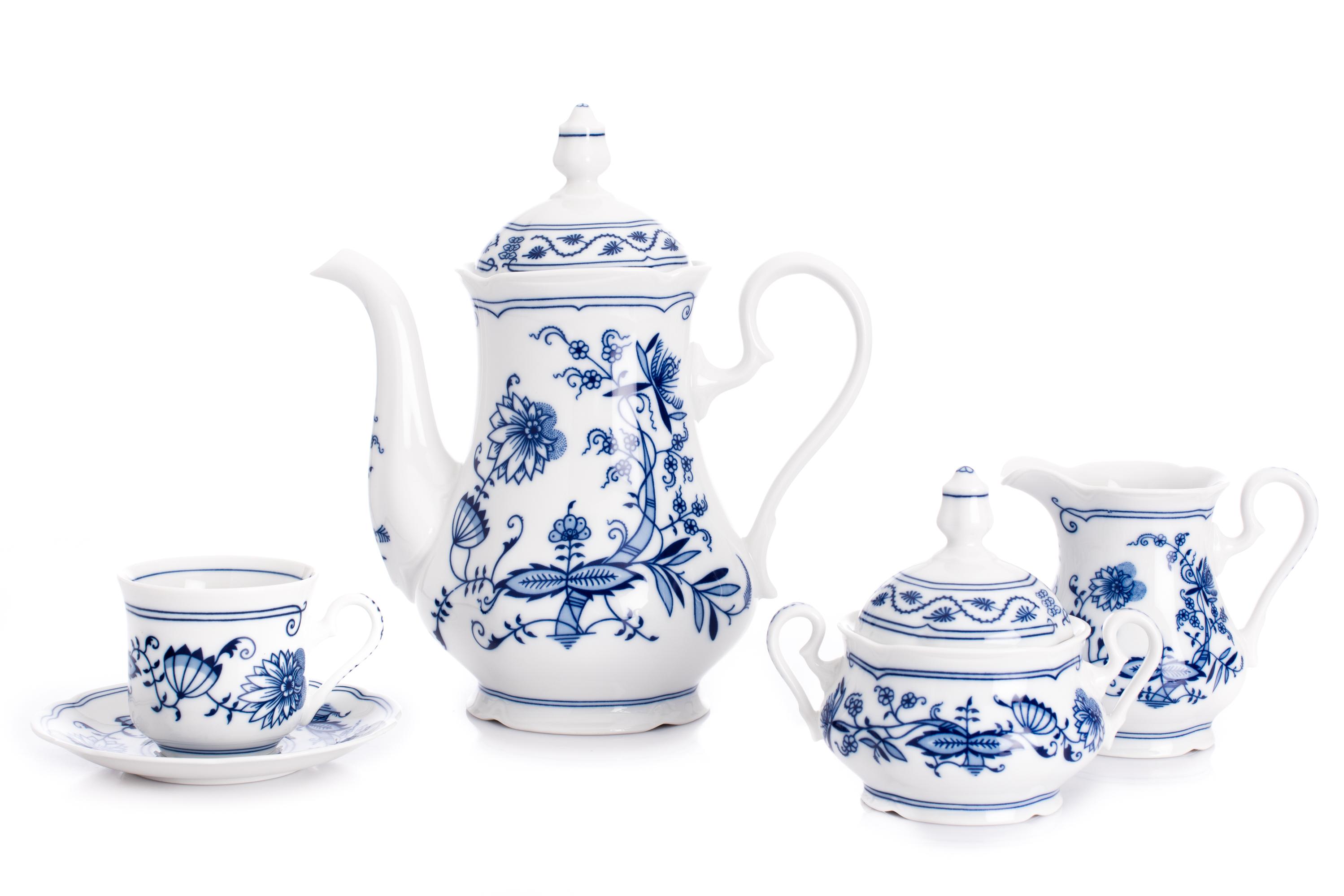 Cibulák, český porcelán Leander, kávová souprava, ruční práce, 15 dílná