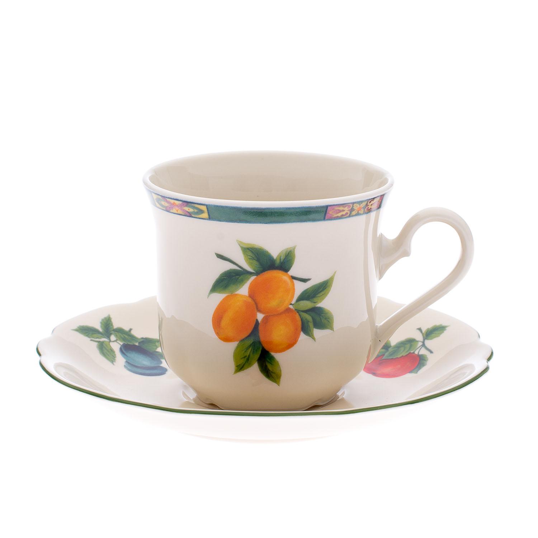 Čajový šálek, karlovarský porcelán Leander Loučky, Mary Anne, ovoce, 6 ks