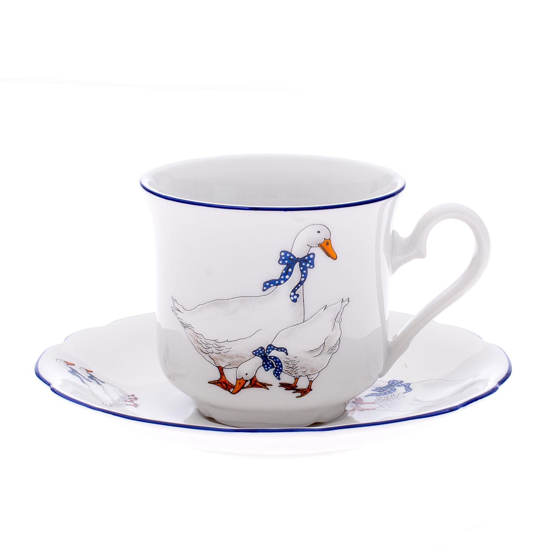 Čajový šálek, karlovarský porcelán Leander Loučky, Mary Anne, husy