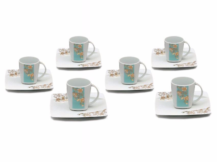 Šálky s podšálky kávové, porcelán Thun, Eye blue, 6 ks