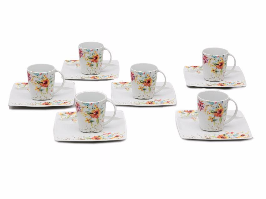 Šálky s podšálky kávové, porcelán Thun, Eye fantazie, 6 ks