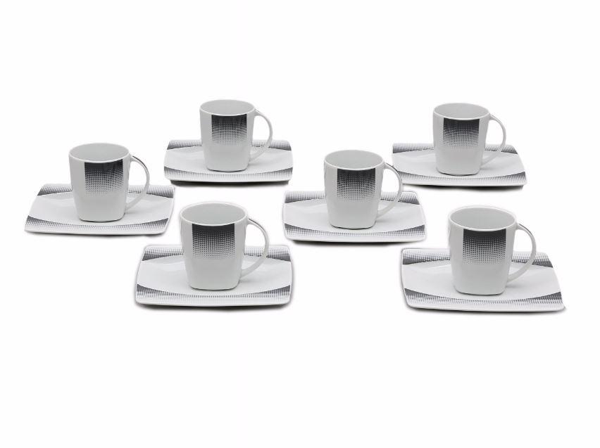 Šálky s podšálky kávové, porcelán Thun, Eye geometrie, 6 ks