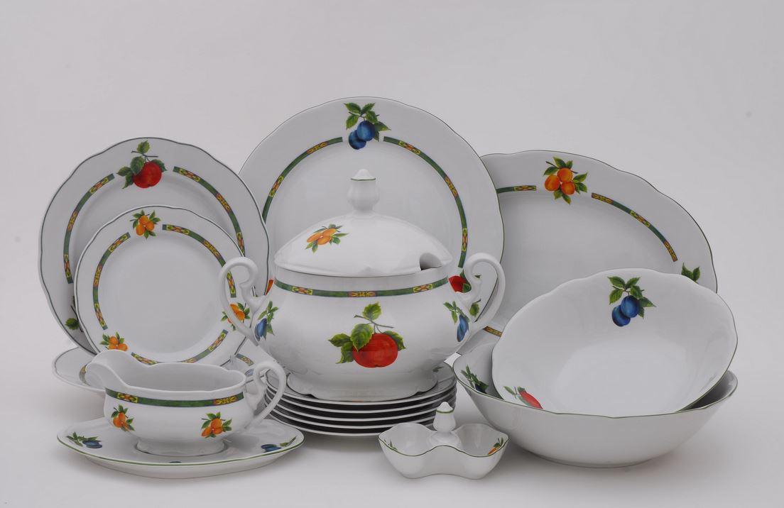Jídelní souprava, karlovarský porcelán Leander Loučky, Mary-Anne - ovoce, bílá, 25 dílná