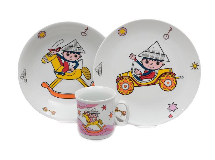 Večerníček, dětská porcelánová souprava (růžová), Thun