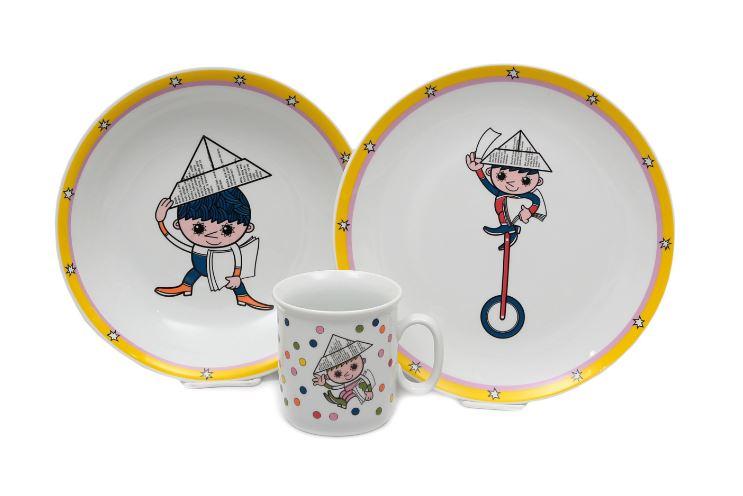 Večerníček, dětská porcelánová souprava (puntíky), Thun