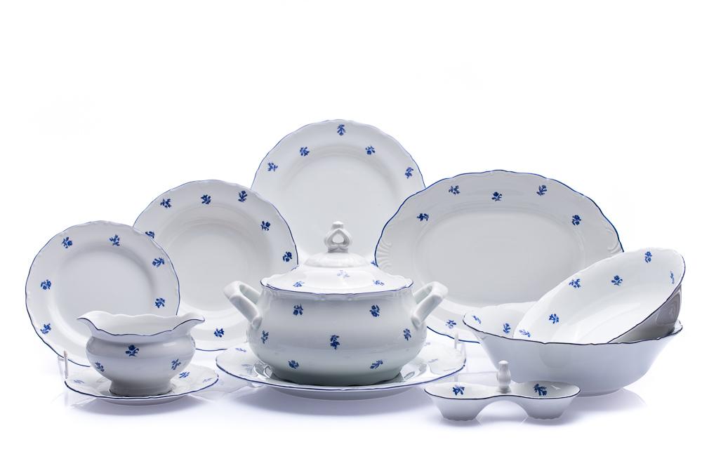 Jídelní souprava Ofélie, český porcelán, Stará Role, modré házenky, 25 dílná