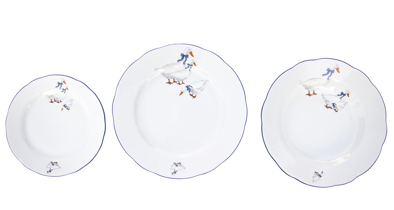 Sada talířů, karlovarský porcelán Leander Loučky, Mary-Anne, husy, 18 dílná
