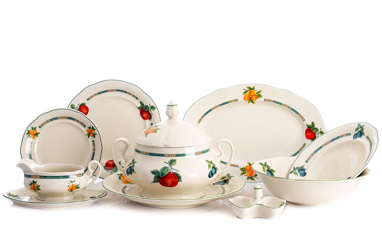 Jídelní souprava, karlovarský porcelán Leander Loučky, Mary-Anne, ovoce, slonová kost, 25 dílná