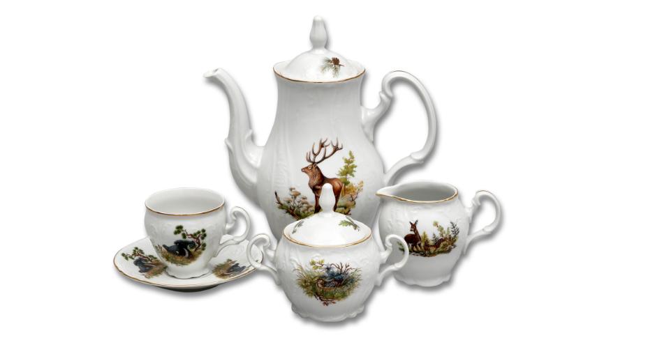 Bernadotte, kávová souprava, myslivecký dekor, Thun