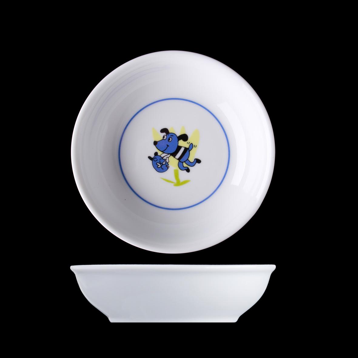 Dětský porcelán, miska kompotová 13 cm, Veselý pes, Langenthal