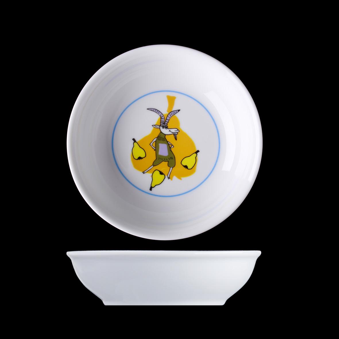 Porcelán pro děti, miska kompotová 13 cm, Veselá koza, Langenthal