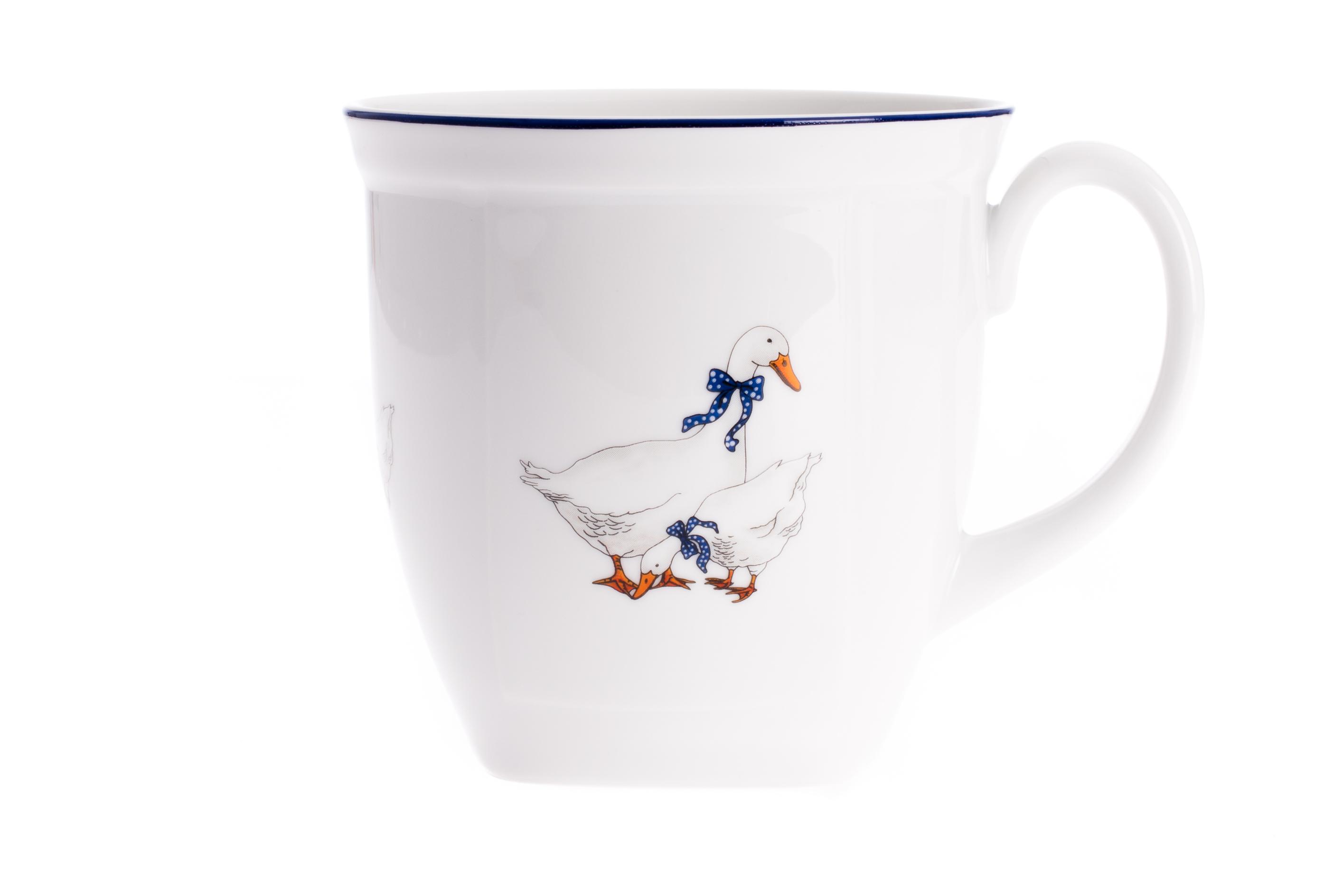 Hrnek hranatý 0,6 l, karlovarský porcelán Leander Loučky, husy
