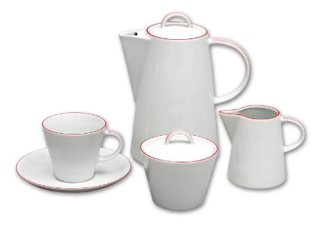 Karlovarský porcelán, kávová souprava, Thun, Tom červený proužek, 15 dílná