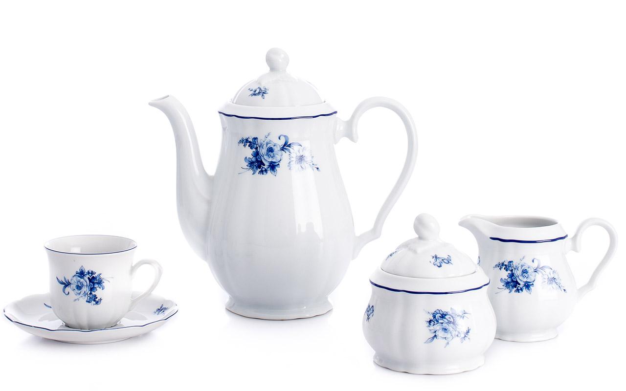 Kávová souprava Thun Rose, 15-dílná, modré růže