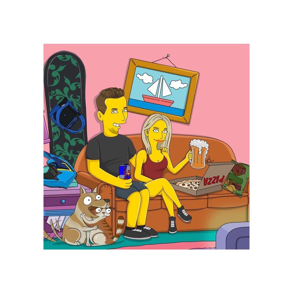 Portrét ve stylu Legendární žluté rodinky - Pokoj