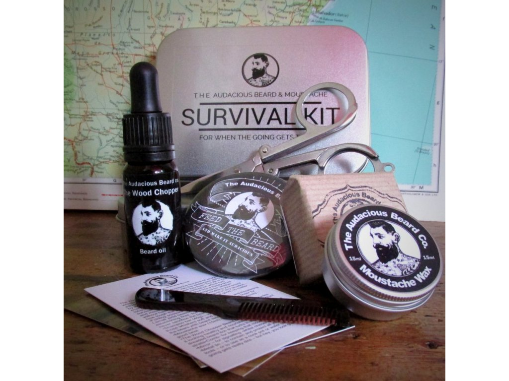The Audacious Beard Survival kit, sada na vousy a knír