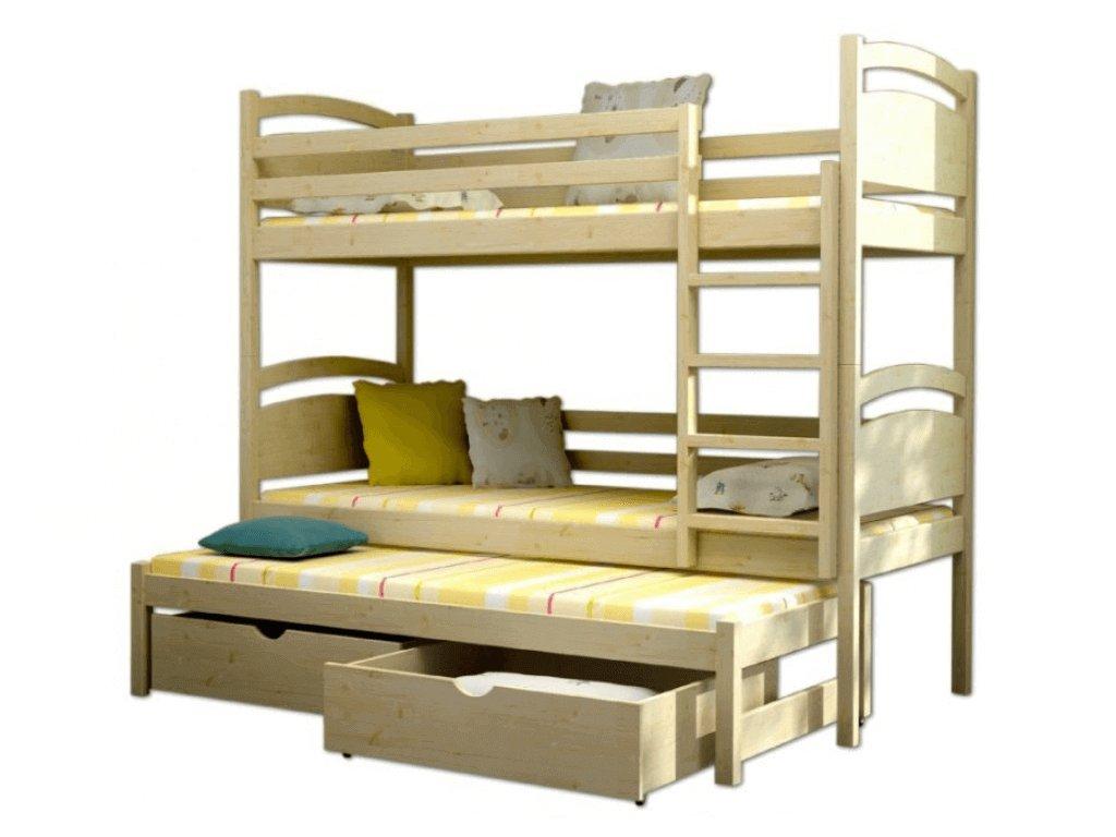 Poschodová posteľ s prístelkou Petra 2 180x80