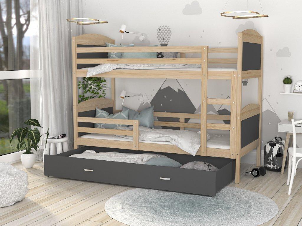 Poschodová posteľ borovicová Mates Color Sivá