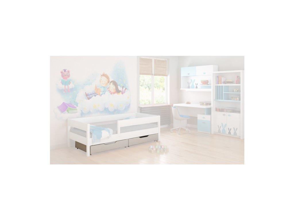Úložné boxy biele pre detské postele Mix 140