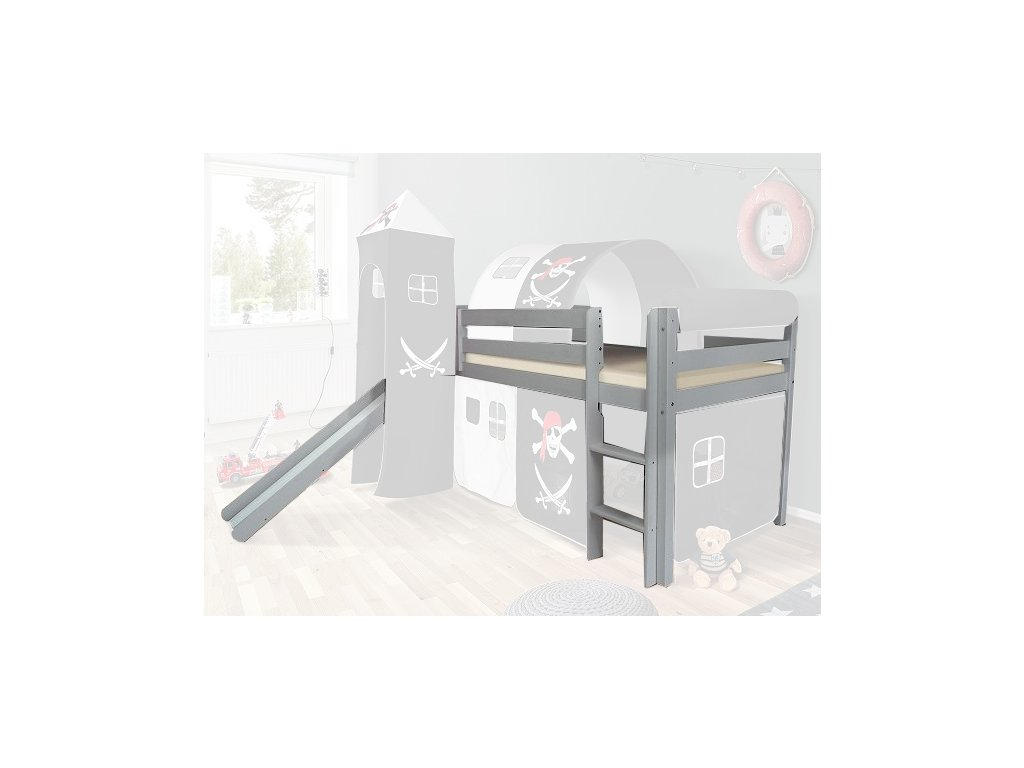 Vyvýšená detská posteľ SORO 90x200 - sivá